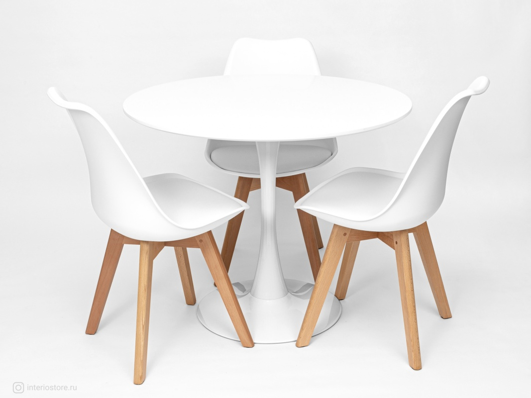 Стол Tulip 90 см и 3 стула Frankfurt