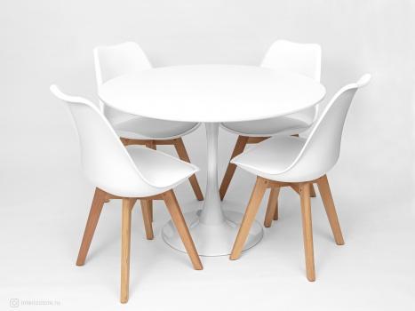 Стол Tulip 100 см и 4 стула Frankfurt