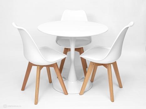 Стол Tulip 80 см и 3 стула Frankfurt