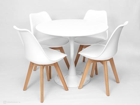 Стол Tulip 90 см и 4 стула Frankfurt
